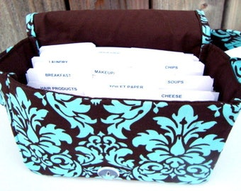 Large 4 Inch Size Coupon Organizer Holder - Attaches to Your Cart- Brown and Turquoise  Dandy Damask