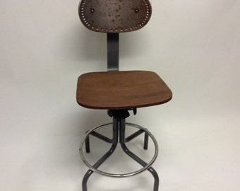 Raw Distressed Vintage Industrial Shop Wood and Metal Shop Bar Swivel Stool