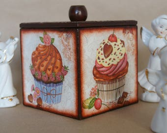 Decoupage Kitchen Wooden box with cover Decoupaged Wood casket Cake Cakes Berries Chocolate Handmade