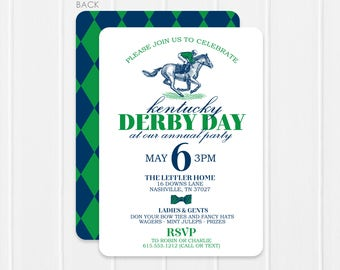 Kentucky Derby Invitation - Derby Day Party Invitation - Run for the Roses - Vintage Horse Illustration Invitation with diamond back