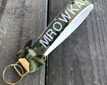Military Personalized Navy NWU Type 3 Bow Wristlet   Us Navy Keychain   Us Navy Key Fob   Navy Key Fob   Military Keychain   Navy Keychain
