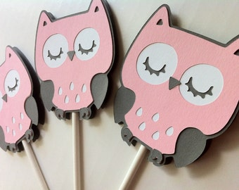 Set of 12 Owl Cupcake Toppers - Pink, White and Gray Sleepy Owl