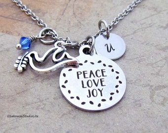 Peace Love Joy Dove Charm Necklace, Personalized Hand Stamped Initial Birthstone Antique Silver Peace Dove Charm Necklace