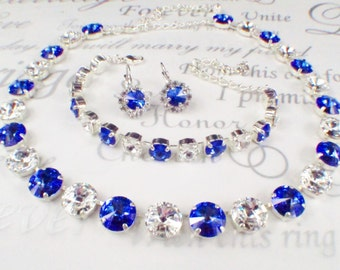 Sapphire Bridal BRACELET Something Blue Bridesmaid Jewelry Anna Wintour Necklace Collett Necklace Blue Wedding Something Blue Statement