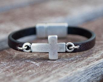Kids Leather Bracelet for Boy Christian Faith Gift Child Bracelet Kids Jewelry Christian Baptism Son Bracelet Gift for Son Daughter