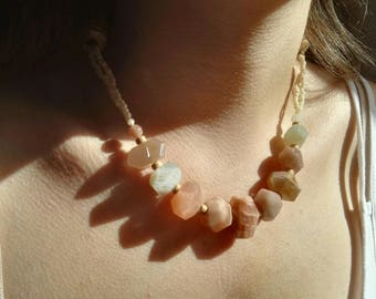 Necklace Moon stone, wood, beads, mother of Pearl / Moonstone, Wood, Pearl, Mother of pearl Necklace