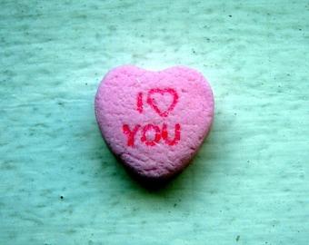 Art Photography - I Heart You Pink Candy Heart Art Photograph, 5x7