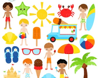 Boys Beach Clipart Set - summer, vacation, sandcastle, beach, clip art set, sun - personal use, small commercial use, instant download