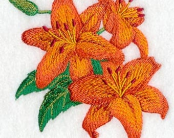 Asiatic Lily Bouquet Embroidered Flour Sack Hand/Dish Towel
