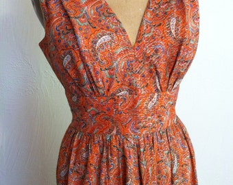 Orange Paisley and Gold Metallic Vintage Bombshell Party Dress Small