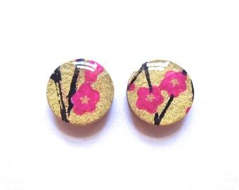 Cherry Blossom, Cherry Blossom Earrings, Stud Earrings, Studs, Japanese Earrings, Japanese Jewelry, Sakura Earrings, Sakura Jewelry