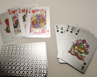 Real Silver Metallic Playing Cards