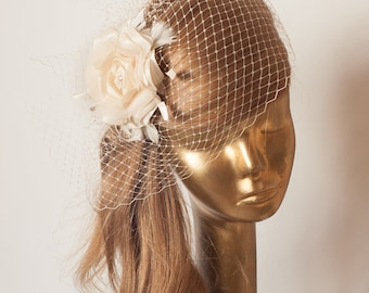 Champagne Birdcage Veil with Flower, Vintage Style Bridal FASCINATOR