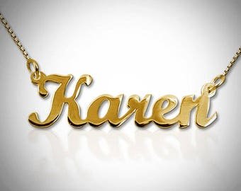 Gold Nameplate Necklace | Solid 14K Gold Nameplate Necklace | Gold Nameplate | Gold Name Necklace