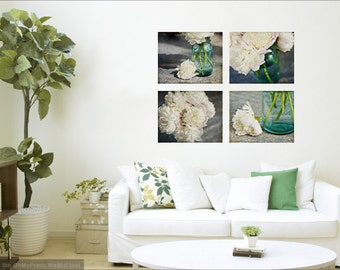 Canvas Art, Set of 4 Mason Jar Peony Photography Gallery Wrapped Canvases, Instant Gallery Aqua Blue Peonies Ready to Hang, Flower Wall Art