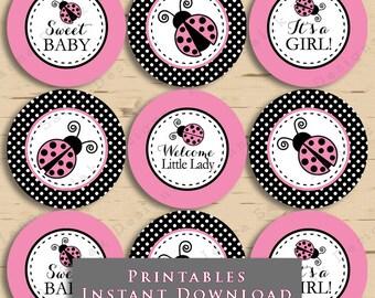 Printable Ladybug Baby Shower Cupcake Toppers Tags Pink and Black Polka Dot DIY Printable INSTANT DOWNLOAD LB02