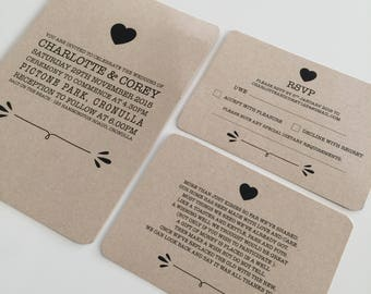 Custom Printable Wedding Invite Set - Vintage Elements Design