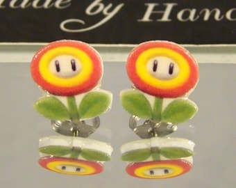 Fire Flower Stud earrings - Super Mario Brother's Jewelry - Gamer Jewellery