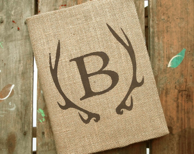 Deer Antler Monogram Journal - Monogram Burlap Journal Cover w. Notebook Monogrammed Journal Personalized - Journal Lined  or Journal Blank