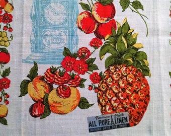 Vintage Kitchen Dish Towel 1950's Unused Parisian Prints Fruit Flowers Linen