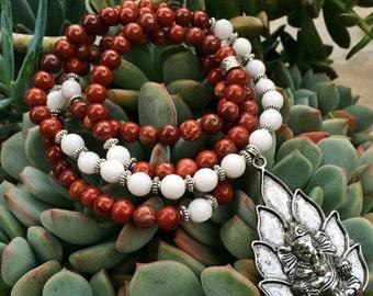 108 Mala Beads   Red Jasper & White Jade Mala with Ganesh Ganesha Charm   Yoga Meditation Beads, Hindu Prayer Beads   Buddha Buddhist Rosary