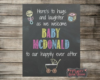 Personalized Printable Baby Shower Sign - Here's to hugs and laughter - Happily Ever After - Chalkboard Welcome Sign