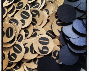 60th Birthday Party Confetti 3/4 Inch Circles - 60 - Black and Kraft Brown