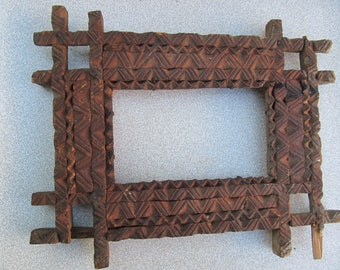 Old antique prirmitive wooden hand carved photo frame