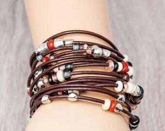 boho bracelet wrap, hippie bracelet, leather bracelet women boho, hippie jewelry, multi strand bracelet, boho chic jewelry, fashion jewelry