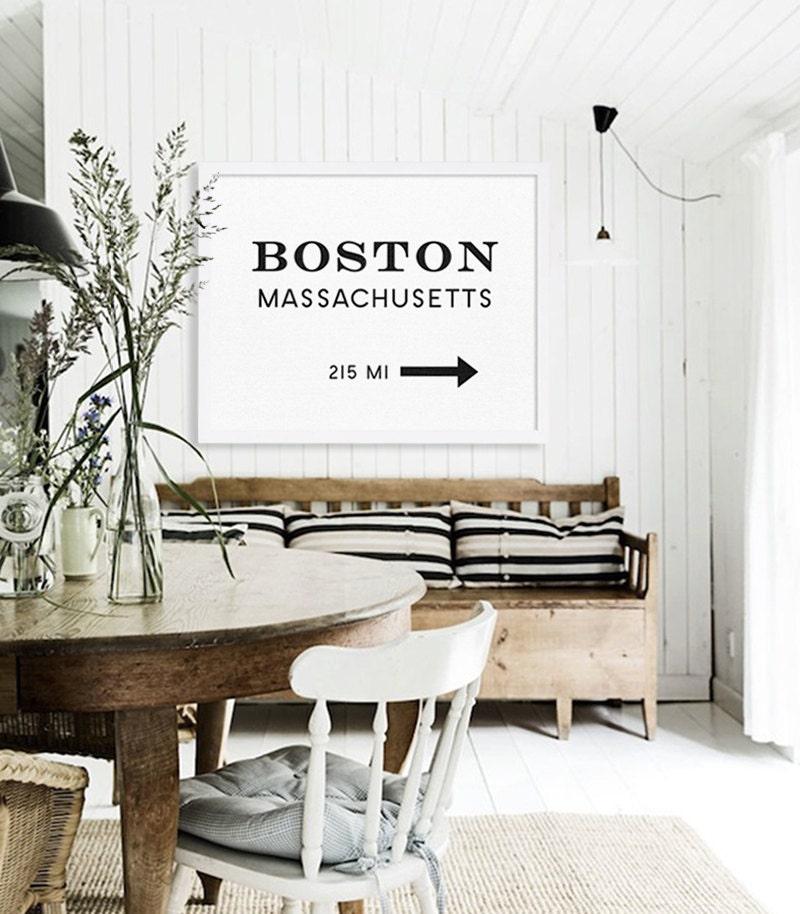 Parking Near The Living Room Boston: Boston Print Large Art Prints Modern Wall Art Living Room
