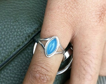 Sterling Silver Blue Chalcedony Ring - solitaire Chalcedony Ring - Blue Chalcedony stone ring
