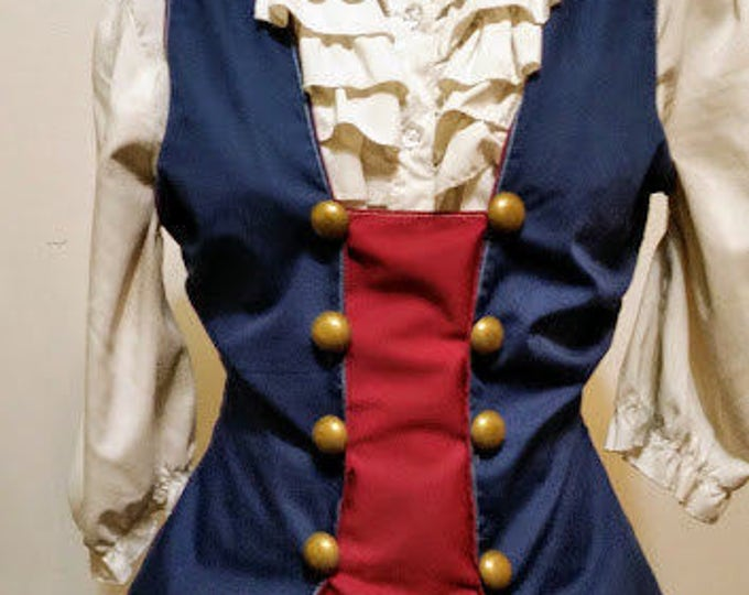 Steampunk Military Tailed Vest with Brass Button Closure Patriotic/Bioshock Infinite/Captain America Blue and Red