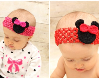 Crochet Minnie Mouse Pink Headband, One Size Fits All, Newborn, 3 Month, 6 Month, 12 Month, One Year, Two Year, Toddler, 2T, Disney ...