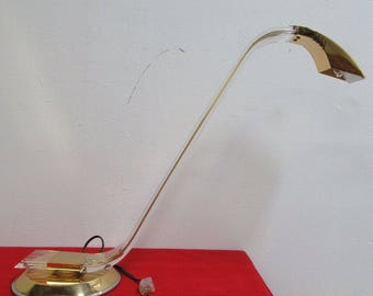 Vintage Brass Lucite Swan Neck Relco Table Desk Lamp A