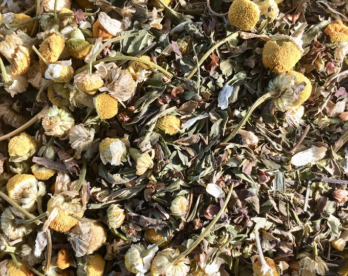 Tulsi, Peppermint, and Chamomile Tea   Organic Holy Basil Tea   anti-stress healing herbal tea   digestion relax tea for mind, body, spirit