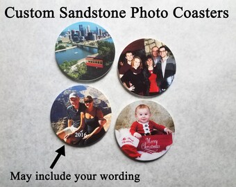 Photo Coasters, Sandstone, Personalized photo coasters, custom coasters, choose your quantity
