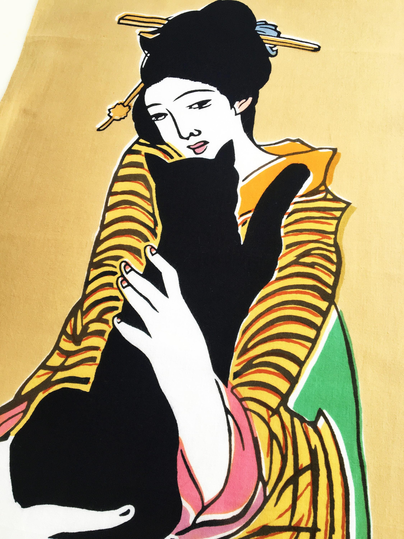 Japanese Tenugui cotton fabric Kyoto Geisha, girl kimono fabric, cat ...