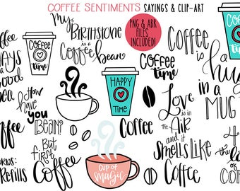 Hand Lettered Coffee Sayings & Clip Art Plus digital brushes, png + abr, digital stamps INSTANT DOWNLOAD photoshop brushes, CU Card Making