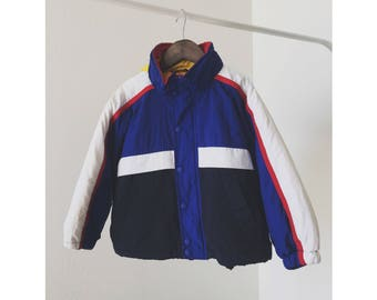 Vintage 90s Tommy Hilfiger Hooded Jacket, Classic, Logo, Rare, Toddler, 4T