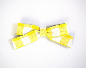 School Girl Sunshine Plaid Leather Bow Clip Adorable Photo Prop for Newborn Baby Little Girl Child Adult Headwrap Easter Pretty Summer Bow