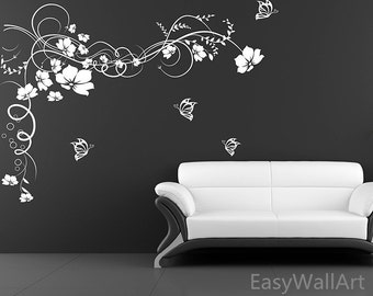 Flower Vine Wall Decal - Flower Wall Decals - Flower Decals - Vine Decals for Living room, Bedroom, Vinal Decals Flowers Vinyl Wall Art F10