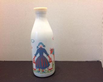 Vintage Portugal White Glass Milk Bottle Painted Woman and Cow, Farmhouse Kitchen Decor