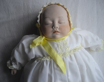 Sleeping Baby/ Porcelain doll/ handmade doll/ Baby doll/ hand painted doll/vintage doll/ antique doll/ cloth body doll/ crochet doll/ceramic