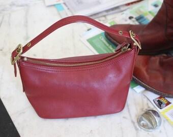 Vintage Coach Bag Purse Cranberry Red Leather Small Handbag mini top handle