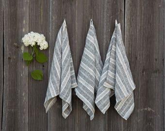 Natural Grey Striped Linen Kitchen Towel | Set of 2