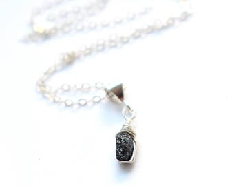 Raw Diamond Necklace, Sterling Silver Stone Necklace, Dainty Black Crystal Necklace, Black Diamond Pendant Necklace April Birthstone Jewelry