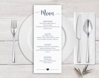 Navy Blue Menu Template, Navy Blue Wedding Menu Card Template, Navy Blue Calligraphy Wedding Menu, Navy Blue Wedding Menu Printable