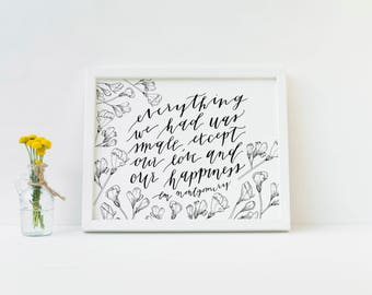 Love and Happiness LM Montgomery Quote Sweet Pea Minimalist Art Print