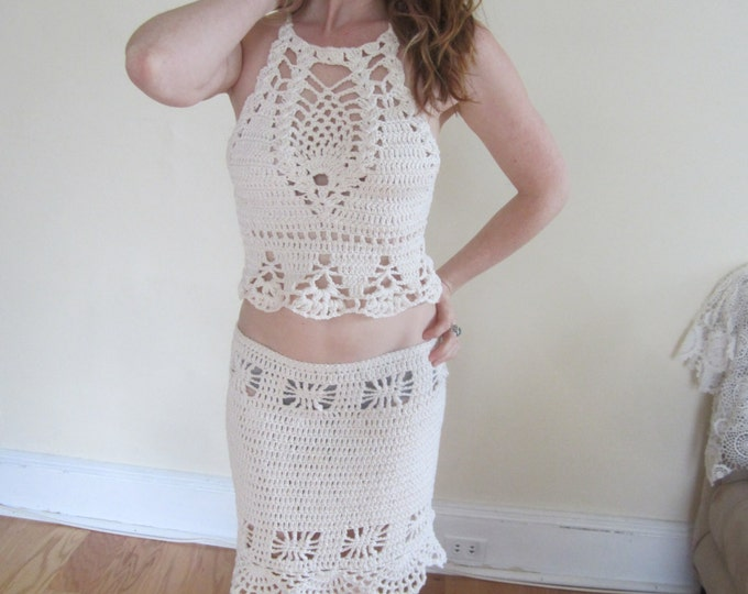 Crochet skirt,  Festival clothing, Boho skirt, offwhite pencil skirt, beach coverup, summer skirt, hippie, ** tops sold separately**