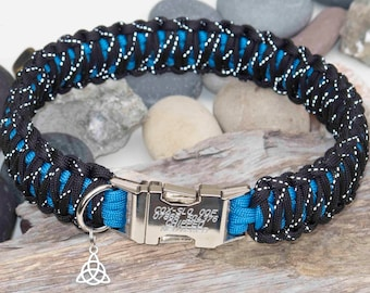 Reflective Black & Blue Engraved Paracord Dog Collar - Free Engraving